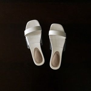 Shoes - WHITE AND CLEAR STRAP SQUARE TOE SLIPPER SANDALS